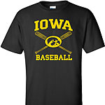 Iowa Hawkeye Cross Bats Tee - Black