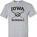 Iowa Hawkeye Cross Bats Tee - Grey