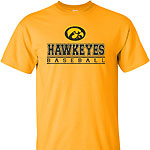 Iowa Hawkeye Baseball Bars Tee - Gold