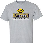 Iowa Hawkeye Baseball Bars Tee - Grey