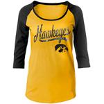 Iowa Hawkeyes Women's Silver Glitter Script Top