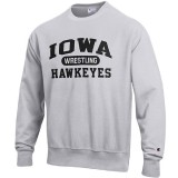 Iowa Hawkeyes Wrestling Grey Reverse Weave Crew Sweat