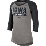 Iowa Hawkeyes Women's 3 Quarter Raglan Tee