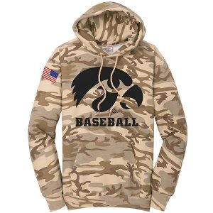 Iowa Hawkeyes Baseball Fleece Camo Pullover Hoodie