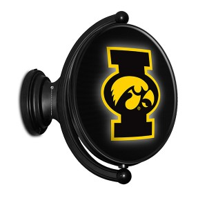 "Iowa Hawkeyes Illuminated ""I"" Tigerhawk Logo Rotating Oval Sign"