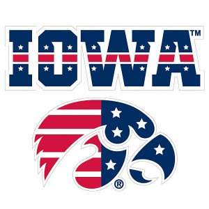 Iowa Hawkeyes Patriotic Iowa Over Logo Decal